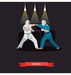 Poster of martial arts kudo fighters in vector