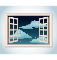 Room window night sky stars clouds vector