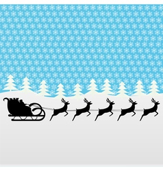 santa claus rides on deer in the woods vector image