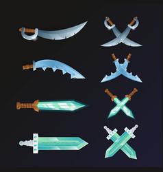 Set of cartoon medieval swords vector