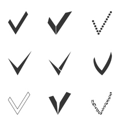 set of different grey and white check marks vector image