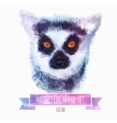 Set of watercolor cute lemur vector