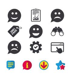 Speech bubble smile face icons happy sad cry vector