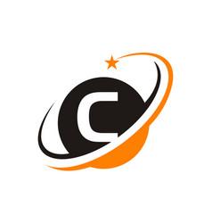 star swoosh letter c vector image