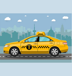 Taxi car on city background vector