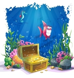Underwater world with fish and gold chest vector