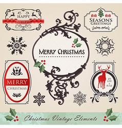Vintage christmas elements set vector image