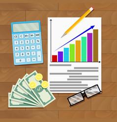 Wage increase overhead view salary statistics vector