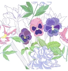 White seamless pattern with peonies and pansy vector