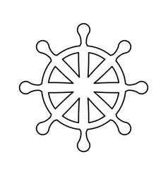 wooden rudder wheel vector image vector image