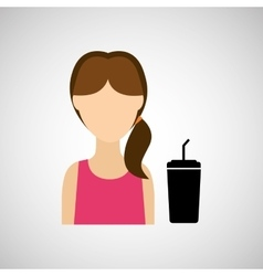 Woman character soda cup straw design vector