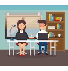 Woman and man office teamwork workplace vector