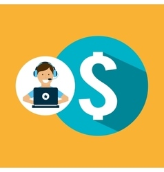 Support center with money symbol vector