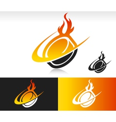 Fire swoosh hockey puck logo icon vector