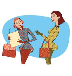 Retro ladies shopping vector