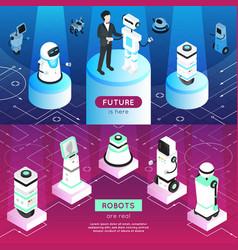 Robots horizontal isometric banners vector