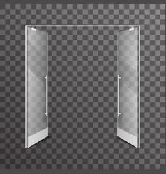 Open transparent isolated shop double doors vector