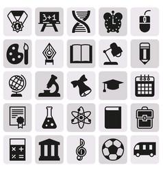 Black simple icon collection school education vector