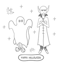 Cartoon halloween characters ghost vampire vector