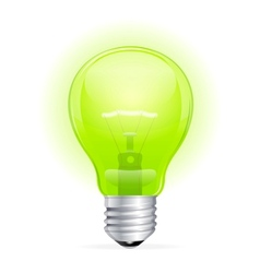 Green light bulb isolated on white vector