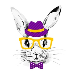 Hipster rabbit vector image