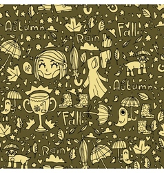 Retro vintage cute autumn pattern vector image