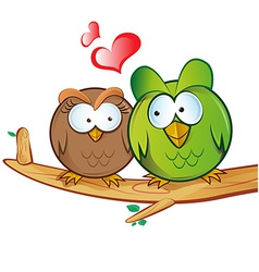 Owl cartoon in love vector