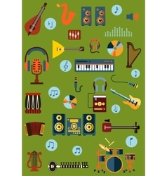 Musical flat instrument and device icons vector