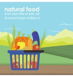 Shopping basket full of healthy organic vector