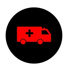 Ambulance sign red icon vector