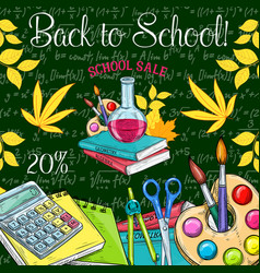Back to school sale promo sketch poster vector