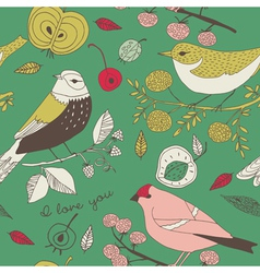 birds fruit and leaves wallpaper vector image vector image