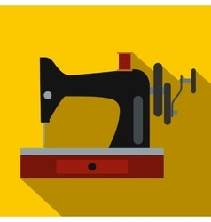 Black old sewing machine flat icon vector