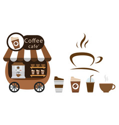 Cart stall and coffee icon vector