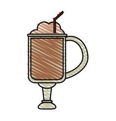 Color crayon stripe cartoon glass cup of vector