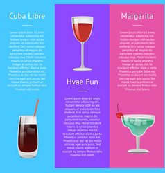 Cuba libre have fun and margarita alcohol drinks vector
