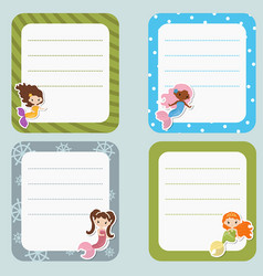 cute cards or stickers with mermaids theme design vector image