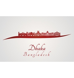 Dhaka skyline in red vector