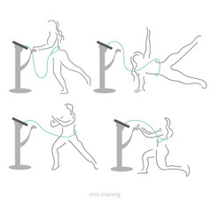 Ems workout stages - poses electric muscular vector