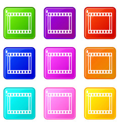 film with frames movie icons 9 set vector image vector image