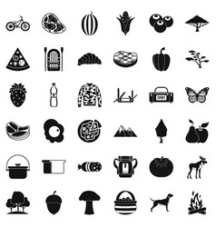 Forest rest icons set simple style vector