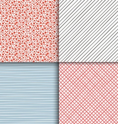 Geometric seamless patterns set Simple textures vector image