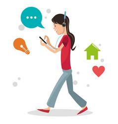 Girl user smartphone headphone walking social vector