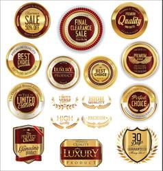 golden shields laurel wreaths and badges vector image vector image
