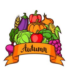 Harvest festival background autumn vector