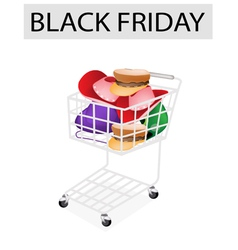 Hats and Helmet in Black Friday Shopping Cart vector image