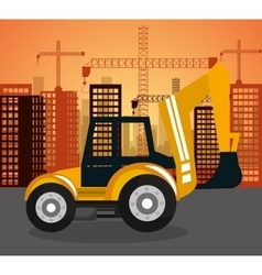 heavy machinary over city construction background vector image vector image