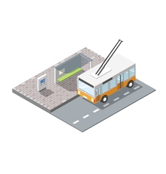 Isometric bus station with ticket sell terminal vector