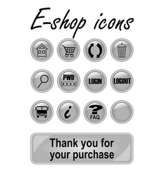 Metallic e-shop buttons set for website elegant vector