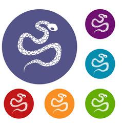 Python snake icons set vector